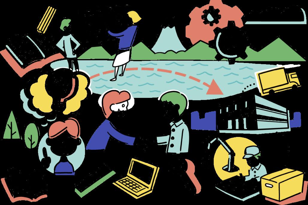 イラスト:諏訪を拠点とし、企業ブランディング、商品リニューアル、新分野チャレンジ、異分野とのマッチング、新商品開発が展開されるイメージ